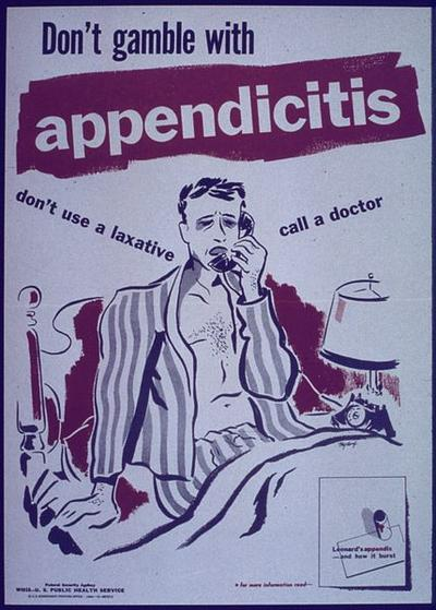 A 1940s appendicitis poster (U.S. National Archives and Records Administration via Wikimedia Commons)