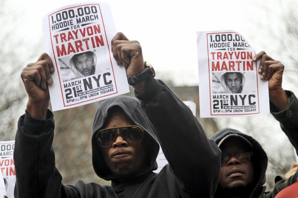 On March 21, 2012, hundreds of people gathered in New York City's Union Square for the Million Hoodie March. The march was in protest of the killing of Trayvon Martin, a black teenager shot to death by a Hispanic neighborhood watch captain in Florida. (AP Photo)