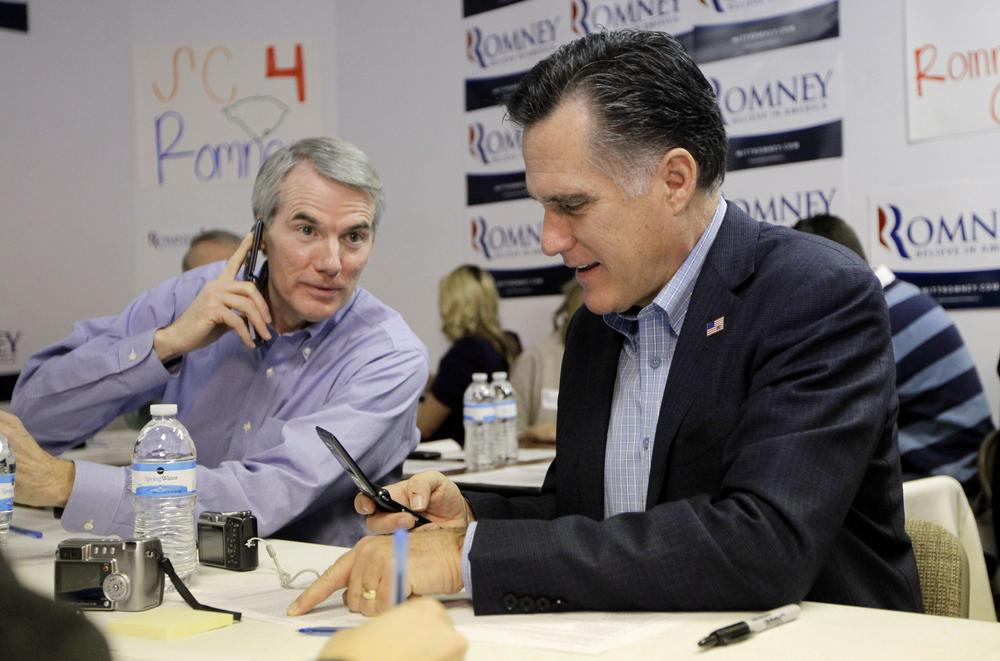 Ohio Sen. Rob Portman, left, would reinforce the image former Massachusetts Gov. Mitt Romney has to pump up in order to beat President Obama – competence. (AP Photo)