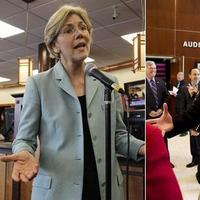 Elizabeth Warren (l) and Sen. Scott Brown (r) (AP).