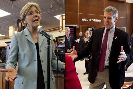 Democratic candidate for Sentate, Elizabeth Warren, left, and Sen. Scott Brown (AP)