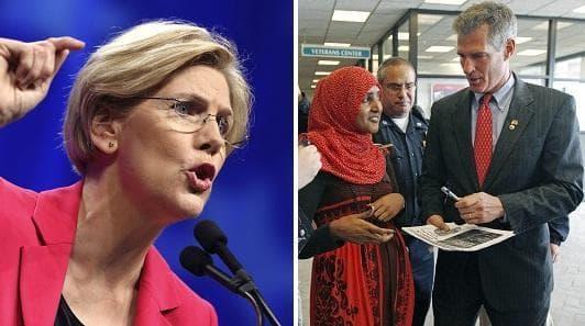 Elizabeth Warren (l) and Scott Brown (r) (AP)