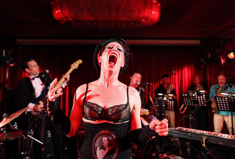 US singer and keyboard player Amanda Palmer performs on stage with her new band Grand Theft Orchestra in Berlin, Germany on June 14. (AP)