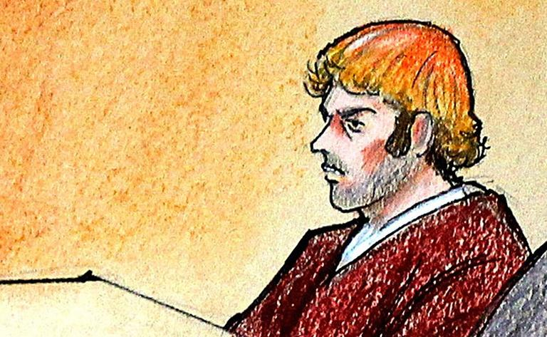 In this courtroom sketch, suspect James Holmes sits in district court in Centennial, Colo. (AP/ Pool)