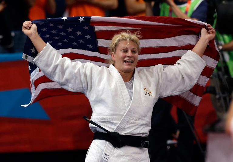 Wakefield's Kayla Harrison celebrates after beating Gemma Gibbons, of Great Britain, for the gold medal during the women's 78-kg judo competition at the 2012 Summer Olympics Thursday. (AP)