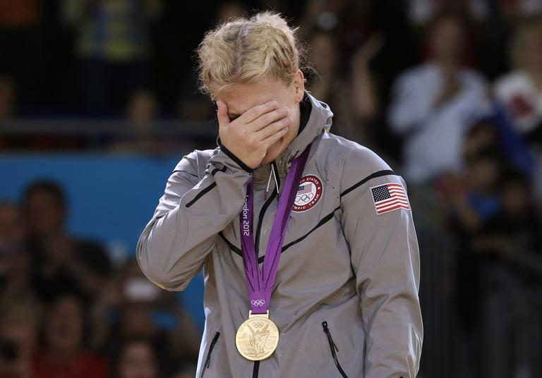 Kayla Harrison, of the United States, is overcome with emotion after winning the gold medal after the women's 78-kg judo competition at the 2012 Summer Olympics. (AP)