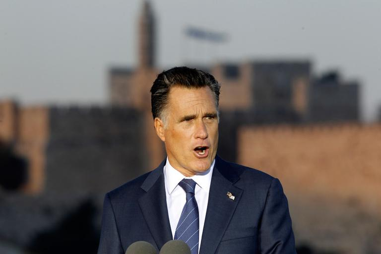 Republican presidential candidate Mitt Romney delivers a speech in Jerusalem, Sunday. (AP)