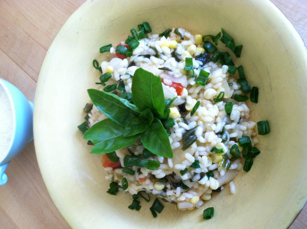 Corn, Tomato and Basil Summer Risotto (Photo by Kathy Gunst)