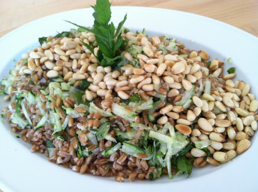 Farro Salad with Raw Shredded Zucchini, Mint, Lemon, and Toasted Pine Nuts (Photo Courtesy of Kathy Gunst)