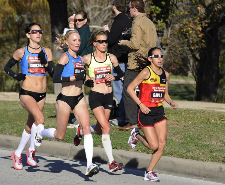 From left: Kara Goucher, Shalane Flanagan, Amy Hastings and Desiree Davila compete in the U.S. Olympic women's marathon trials in January in Houston. (AP)