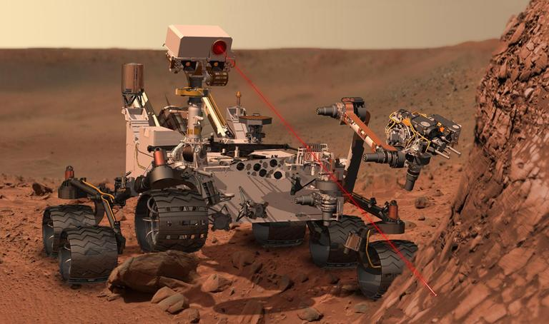 This artists rendering shows the Mars Rover, Curiosity. After traveling 8 1/2 months and 352 million miles, Curiosity will attempt a landing on Mars the night of Aug. 5. (AP/NASA)