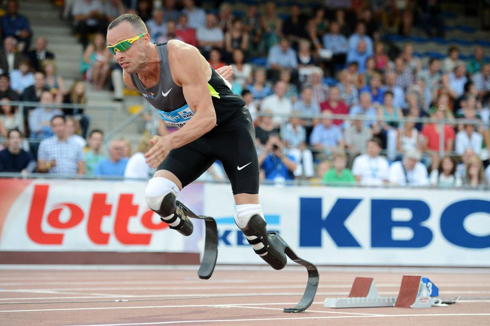 South African Olympian Oscar Pistorius is trying to become the first double amputee to medal as an Olympic runner. (AP)