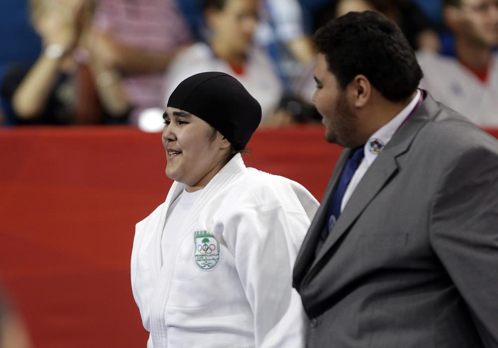 Judo competitior Wojdan Shaherkani is one of Saudi Arabia's first two female Olympic participants. (AP)