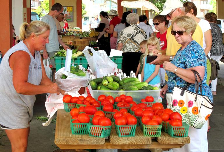 Farmers' markets, like this one in East Troy, Wis., are overflowing with fresh produce these days. (AP)