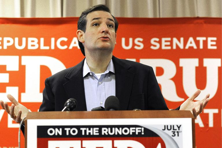 Texas Republican Senate candidate Ted Cruz speaks to the media Wednesday, Aug. 1, 2012, in Houston a day after trouncing Lt. Gov. David Dewhurst in a runoff. (AP)