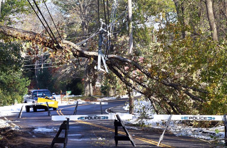 A fallen tree and downed power lines block a street in North Andover on Oct. 31, 2011, after a powerful fall snowstorm. (AP)