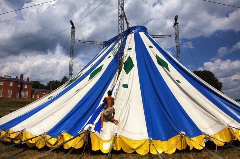 Marecki on the Circus Smirkus big top in Revere. (Courtesy Harry Powers)