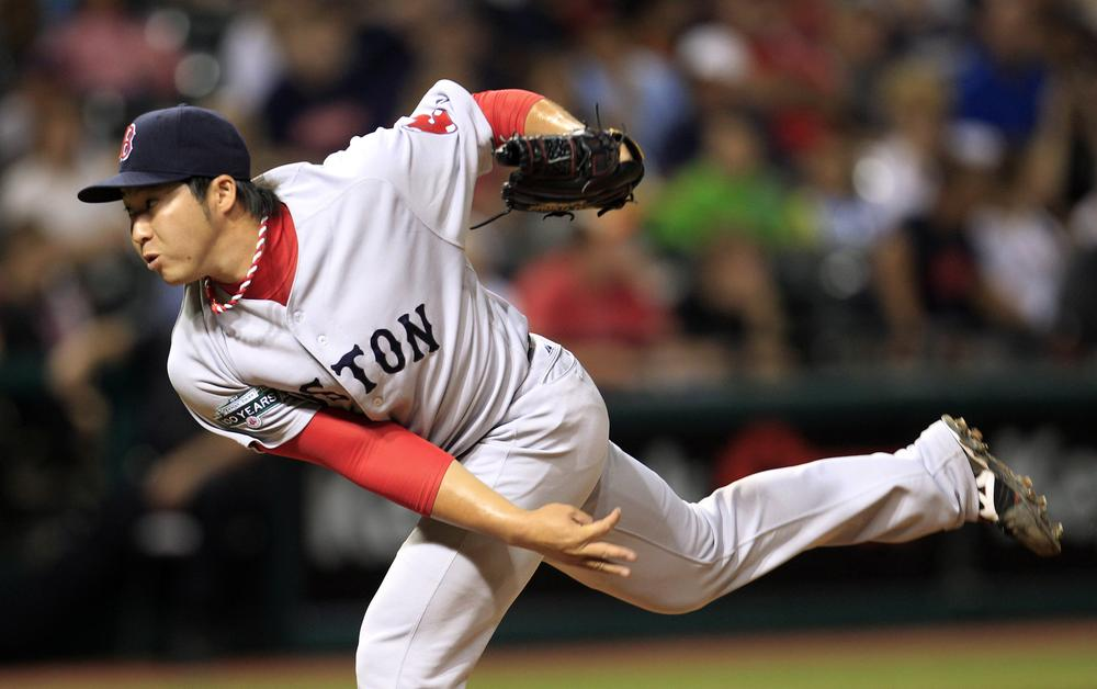 Red Sox relief pitcher Junichi Tazawa delivers in the seventh inning of last night's game in Cleveland. (AP Photo)