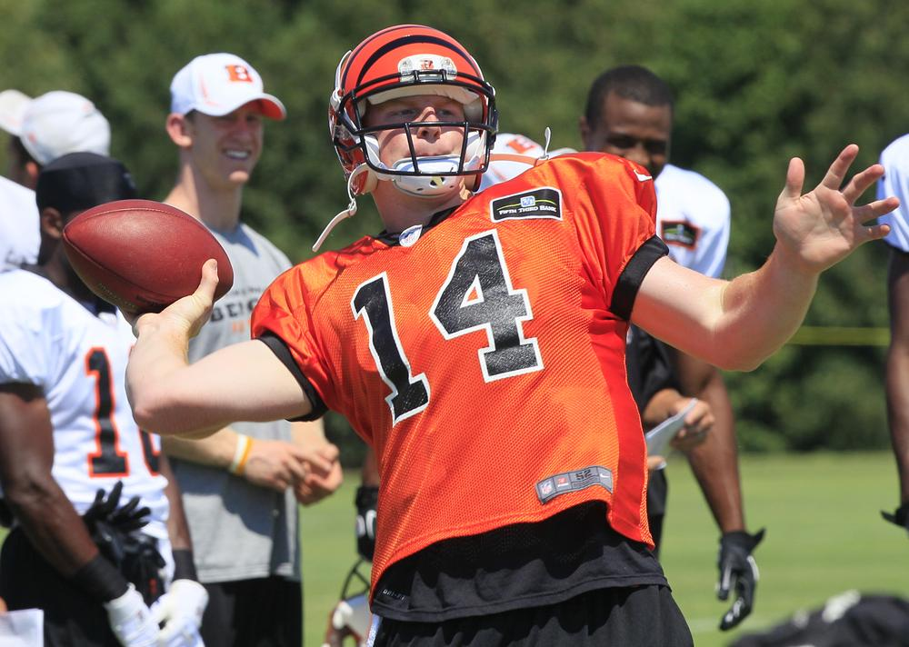 How's Cincinnati Bengals quarterback Andy Dalton is performing in training camp this year? As long as it's sunny and the concessions stands are open ... who cares? (AP)