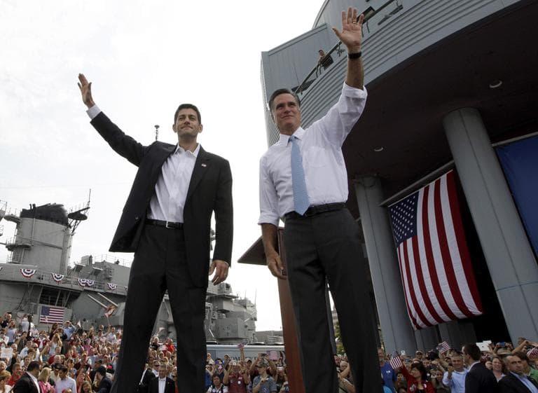 Republican presidential candidate Mitt Romney, right, and his vice presidential pick, Wisconsin Rep. Paul Ryan, in Norfolk, Va., Saturday  (AP)