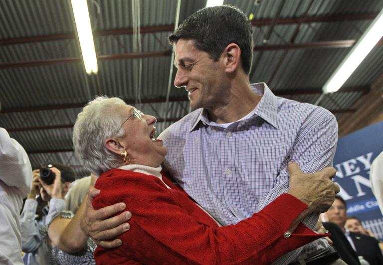 An enthusiastic supporter hugs Republican vice presidential candidate, Rep. Paul Ryan, R-Wis., at a campaign event Sunday in High Point, N.C. (AP)