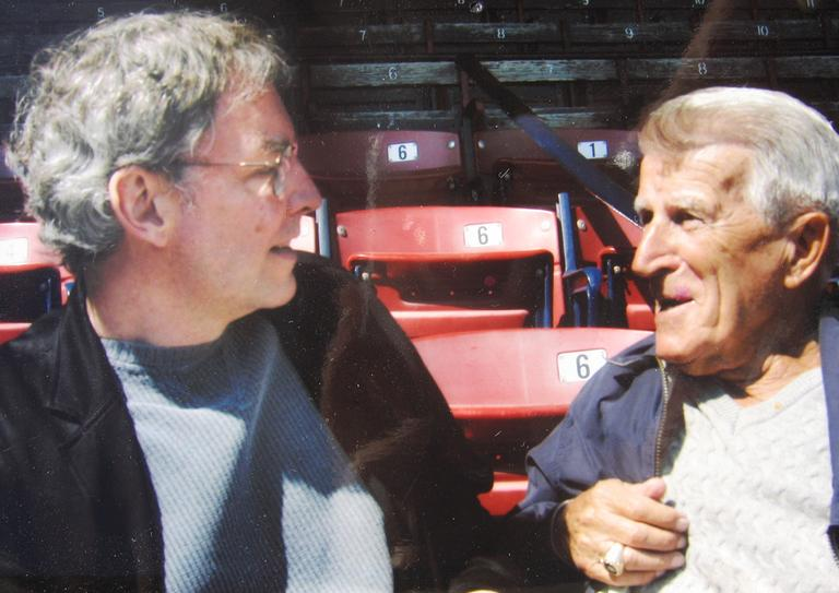 Late Red Sox legend Johnny Pesky, right, and WBUR's Bill Littlefield, during one of their many interviews (Only A Game File Photo)