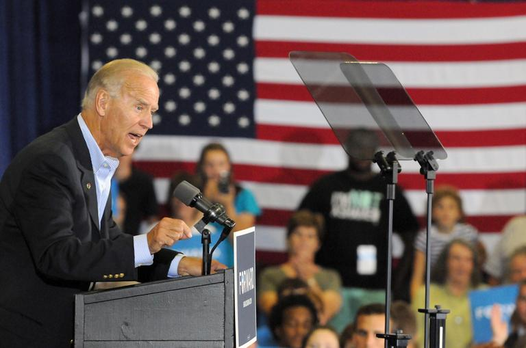 Vice President Joe Biden speaks during a campaign stop at the Spiller Elementary School in Wytheville, Va., Tuesday. (AP)