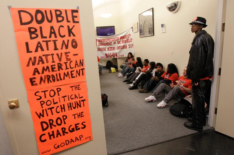 On April 6, protesters and students stage a sit-in at the University of California in Berkeley. The U.S. Supreme Court is set to revisit the thorny issue of affirmative action less than a decade after it endorsed the use of race as a factor in college admissions. (AP)
