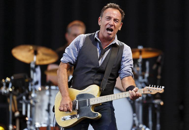 Bruce Springsteen at Fenway Park Tuesday. (AP)