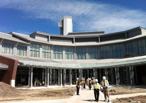 "The future ""village green"" at the new Massachusetts state psychiatric hospital (Carey Goldberg/WBUR)"