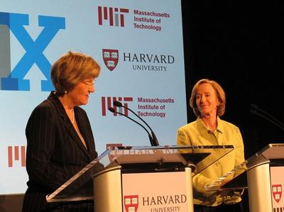 Harvard President Drew Gilpin Faust, left, and former MIT President Susan Hockfield announce the creation of edX in May. (Courtesy Katie Broida)