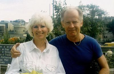 Teresa Stanley and Bulger on a trip to London (Stanley photo obtained by WBUR's David Boeri)