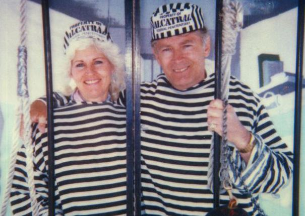 "Tourists James ""Whitey"" Bulger and his then-girlfriend, Teresa Stanley, pose for a picture at a shop outside Alcatraz prison in the early 1990s. (Stanley photo obtained by WBUR's David Boeri)"