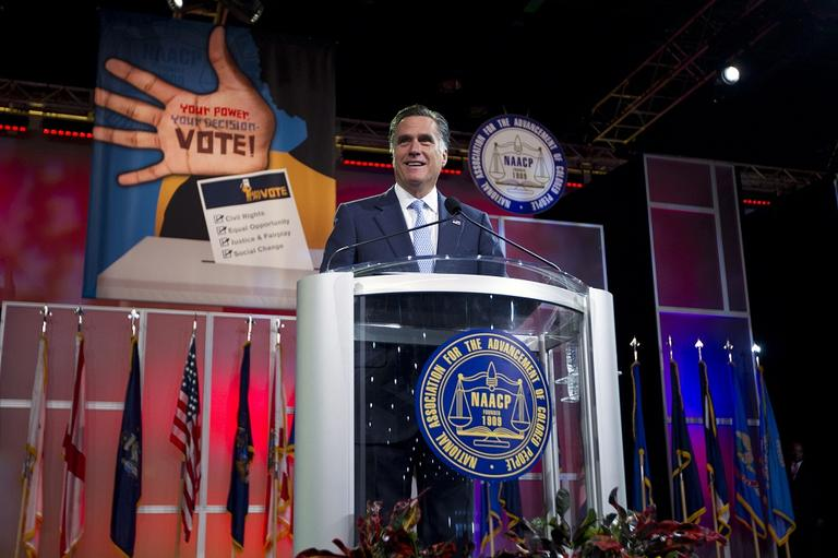 Republican presidential candidate, former Massachusetts Gov. Mitt Romney speaks before the NAACP annual convention, Wednesday, July 11, 2012, in Houston, Texas. (AP/Evan Vucci)