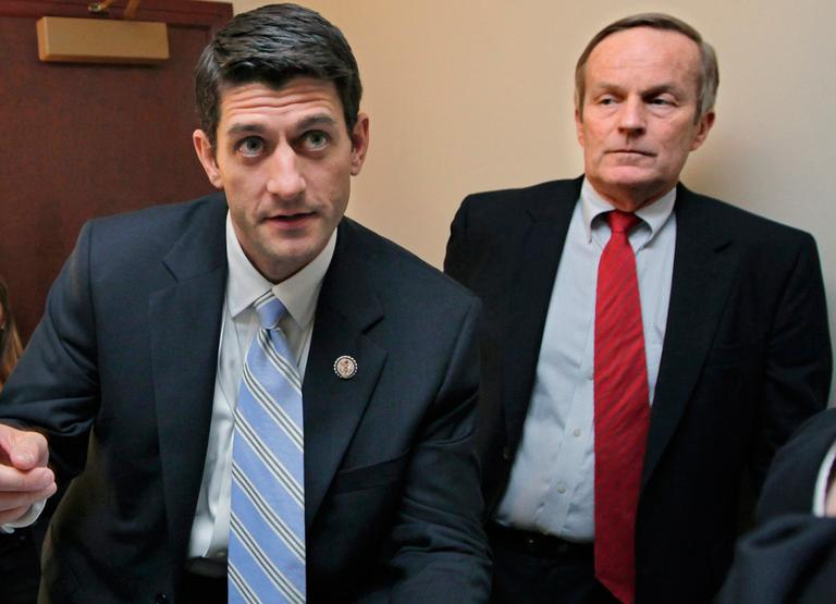 In this April 5, 2011, file photo, Rep. Paul Ryan, left, and Rep. Todd Akin talk before a news conference on Ryan's budget agenda on Capitol Hill. (AP)