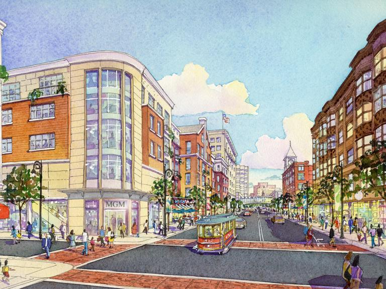An artist's rendering of MGM's proposed resort-style casino in Downtown Springfield (Courtesy)