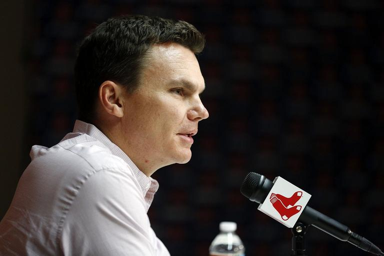 Red Sox general manager Ben Cherington speaks at a news conference before a baseball game between the Red Sox and the Kansas City Royals in Boston on Saturady. (AP/Michael Dwyer)