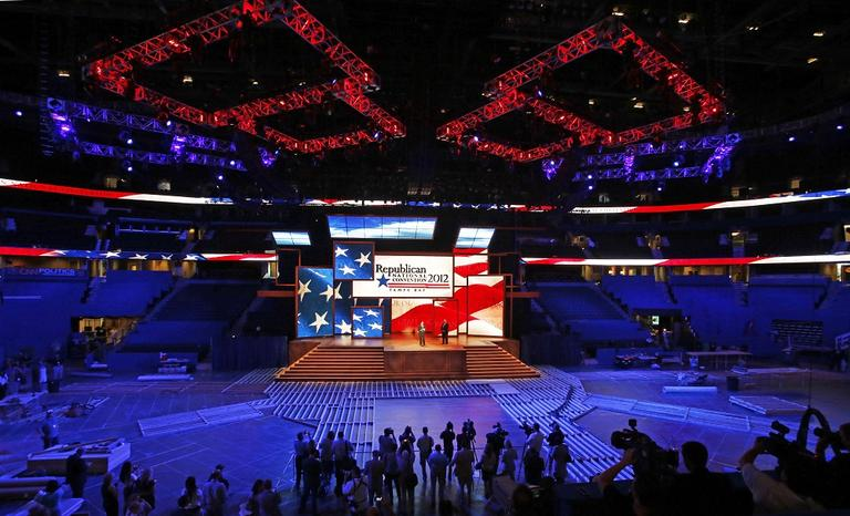 GOP leaders unveil the stage and podium for the 2012 Republican National Convention, Monday, Aug. 20, 2012, at the Tampa Bay Times Forum in Tampa, Fla. (AP/Scott Iskowitz)