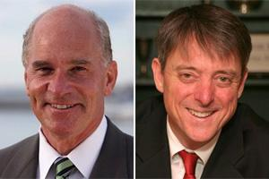 Rep. William Keating, left, and Sam Sutter (Campaign photos)