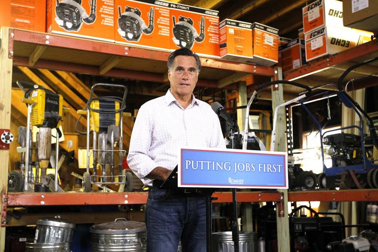 In this July 6, 2012 file photo, Republican presidential candidate, former Massachusetts Gov. Mitt Romney speaks about job numbers, at Bradley's Hardware in Wolfeboro, N.H. (AP)