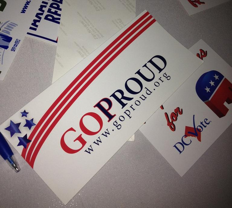 A GOProud bumper sticker. (Here & Now/Meghan Keene)