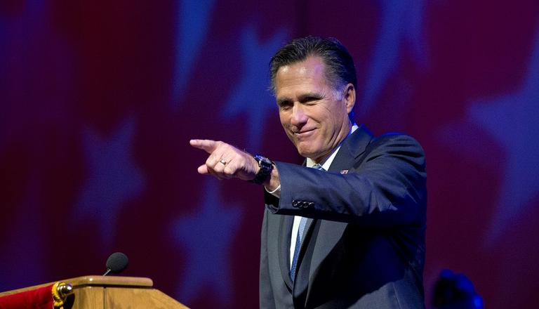 Republican presidential candidate, former Massachusetts Gov. Mitt Romney speaks at the American Legion National Convention on Wednesday. (AP/Evan Vucci)
