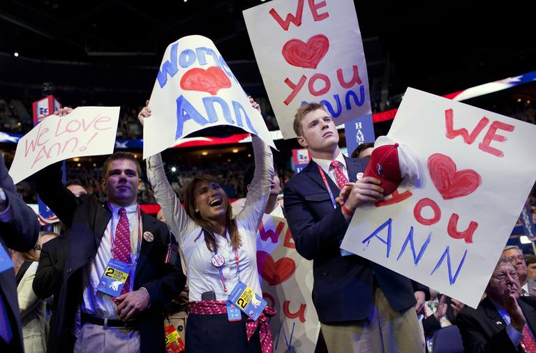 People cheer for Ann Romney as she delivers a speech at the Republican National Convention on Tuesday. (Evan Vucci/AP)