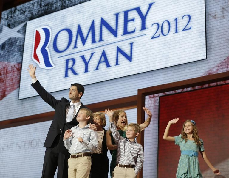Republican vice presidential nominee, Rep. Paul Ryan, joined by his family after his acceptance speech on Wednesday. (AP/Charles Dharapak)