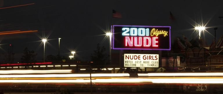 A strip club is seen on West Kennedy Boulevard in Tampa, Fla. A 10 minute drive from the Republican National Convention. (AP)