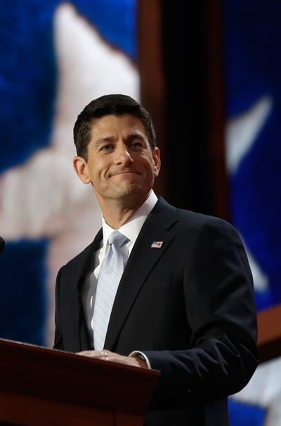 Vice presidential nominee Paul Ryan addresses the Republican National Convention in Tampa, Fla., on Wednesday. (AP)
