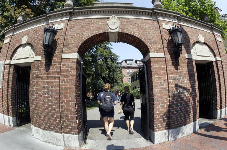 A gate on the campus of Harvard University in Cambridge. (AP)
