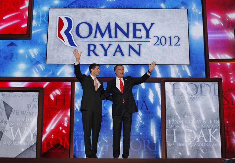 Republican presidential nominee Mitt Romney and his running mate, Rep. Paul Ryan at the RNC Thursday night. (AP)