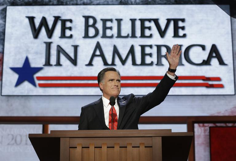 Presidential nominee Mitt Romney at the Republican National Convention in Tampa, Fla., Thursday. (AP)