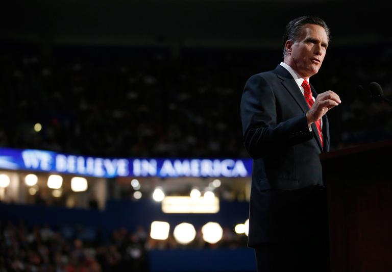 Presidential nominee Mitt Romney speaks at the Republican National Convention in Tampa, Fla., on Thursday. (AP)